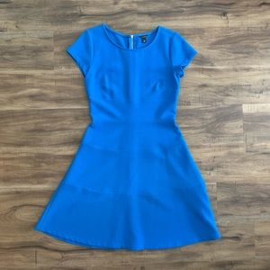 Ann Taylor double cloth blue dress A-line